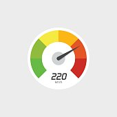 Speedometer icon vector isolated with speed indicator