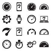 Speedometer Icons. Black Flat Design. Vector Illustration.