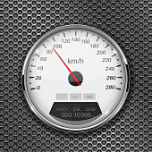 Speedometer on metal perforated background. 90 km per hour