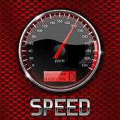 Speedometer on red perforated background