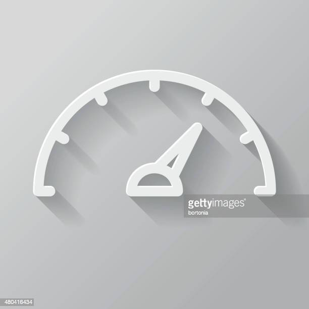 Speedometer Paper Thin Line Interface Icon With Long Shadow