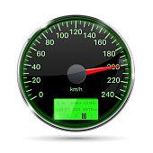 Speedometer. Round black gauge with chrome frame