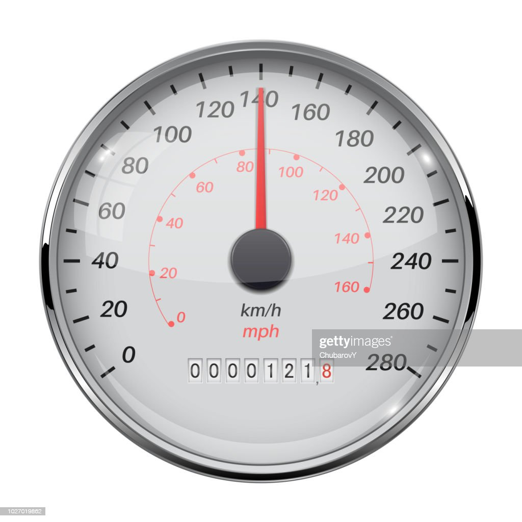 Speedometer. Speed gauge with metal frame. 140 km per hour