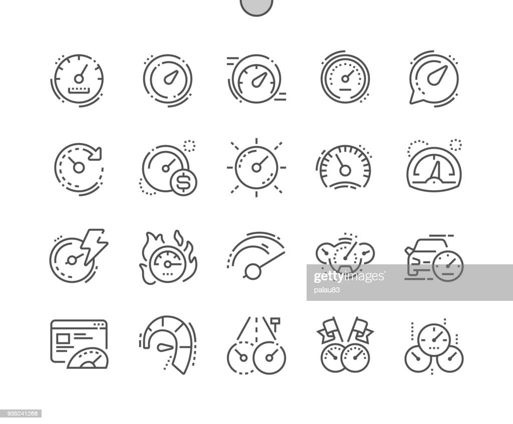 Speedometer Well-crafted Pixel Perfect Vector Thin Line Icons 30 2x Grid for Web Graphics and Apps. Simple Minimal Pictogram