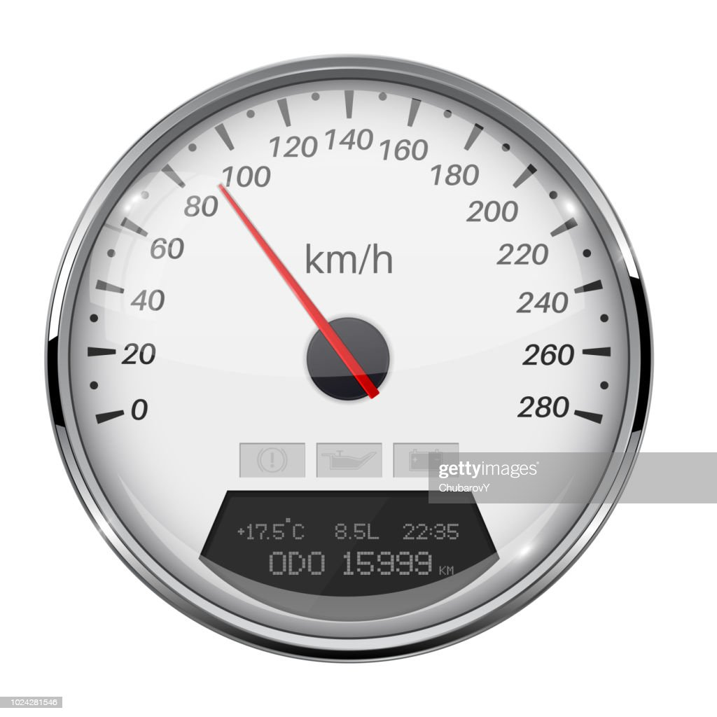 Speedometer. White speed gauge with metal frame. 90 km per hour