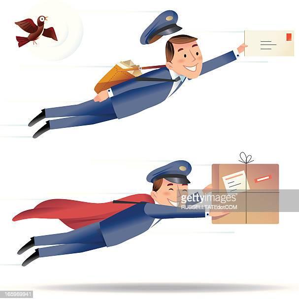 illustrations, cliparts, dessins animés et icônes de livraison rapide - facteur