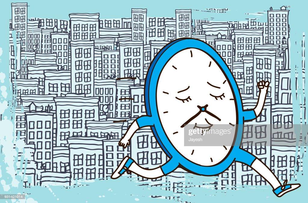 Speedy Fast Clock Running through City : Stock Illustration