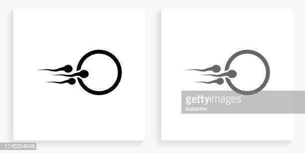 sperm and egg black and white square icon - sperm stock illustrations