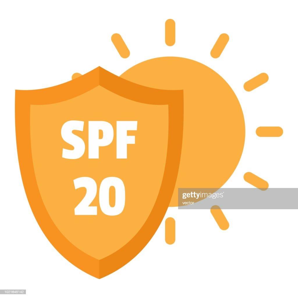 Spf 20 uv logo, flat style