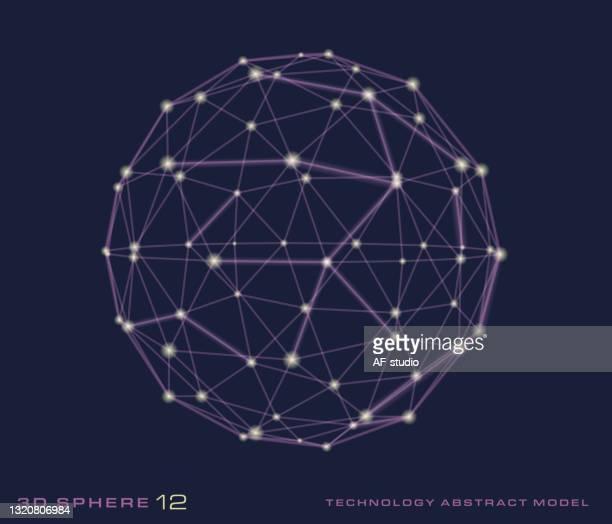 stockillustraties, clipart, cartoons en iconen met 3d sphere - netwerk - oscilloscoop