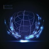 3D sphere wireframe element, globe shaped net. HUD element