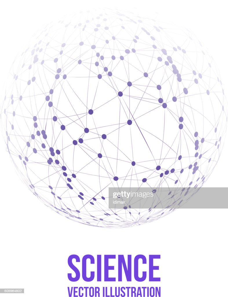 Sphere with connected lines and dots. Wireframe mesh polygonal. Vector