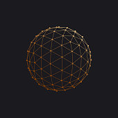 3D sphere with global line connections.