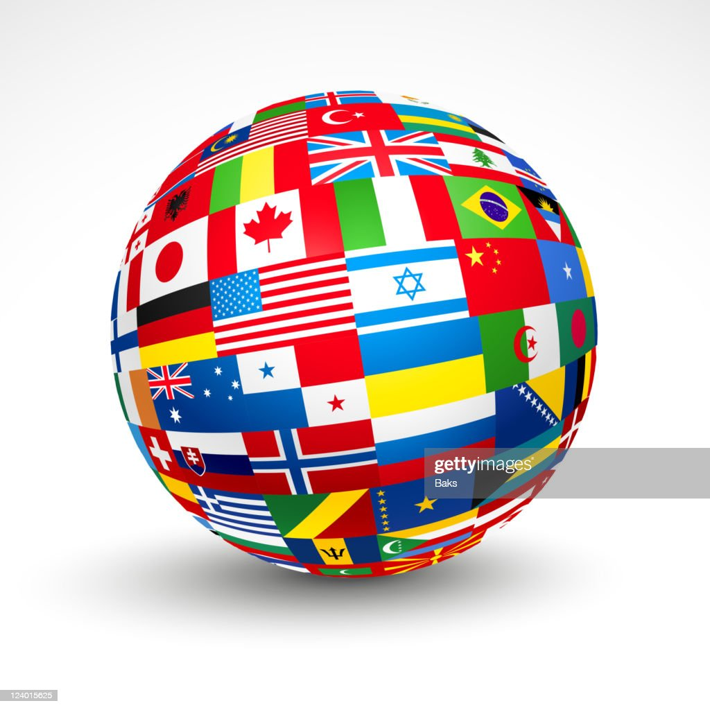 3D sphere with world flags in it