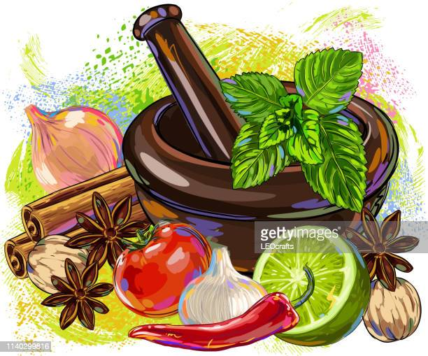 spices,vegetables and mortar drawing - mortar and pestle stock illustrations, clip art, cartoons, & icons