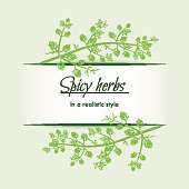 Spicy herbs in a realistic style, frame