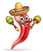 Spicy Red Pepper Mexican Mascot