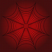 spider web, cobweb on red dotted background. Vector illustration