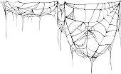 Spider web isolated on white background