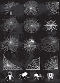 Spider web silhouette vector set
