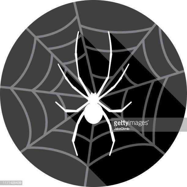spider with web icon silhouette - black widow spider stock illustrations, clip art, cartoons, & icons