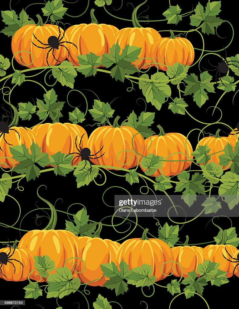 spiders and pumpkins repeating pattern ベクトルアート getty images
