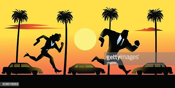 Spies Couple Running in Los Angeles