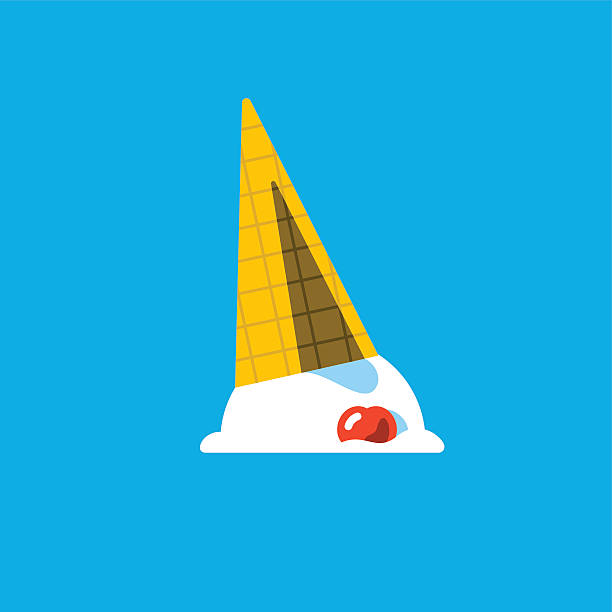 spilled or dropped ice cream cone - ice cream stock illustrations