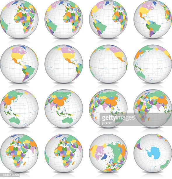spinning earth globe icon set, latitude 15° n view - national border stock illustrations, clip art, cartoons, & icons