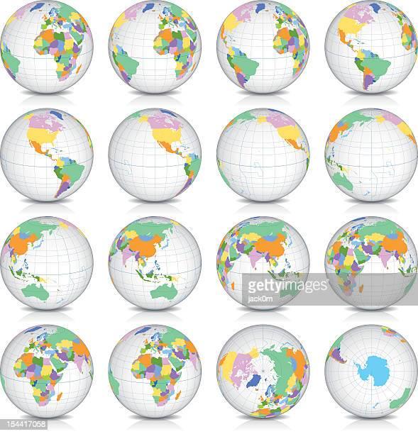 Spinning Earth Globe Icon Set, latitude 15° N view