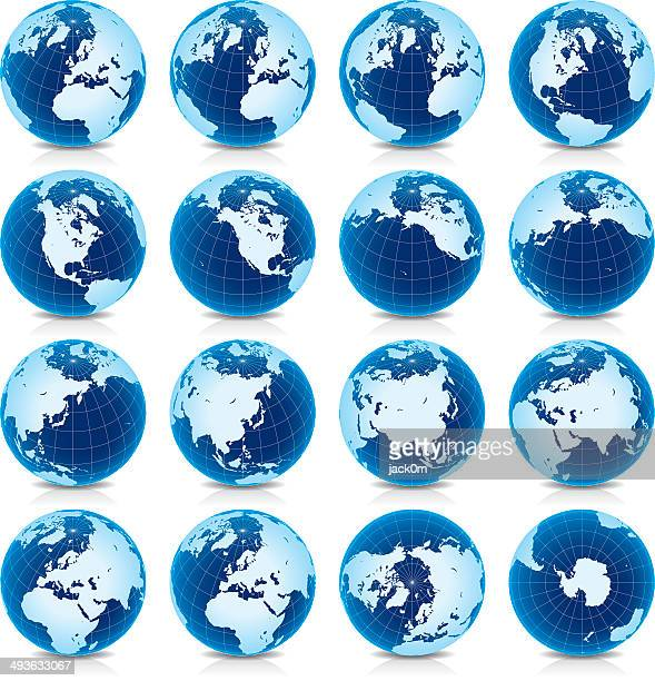 Spinning Earth Globe Icon Set, latitude 45° N view