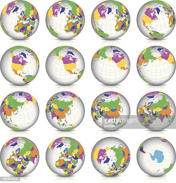 Spinning Earth Globe Icon Set, latitude 45° N view