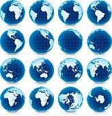 Spinning Earth Globe Icon Set, latitude zero view