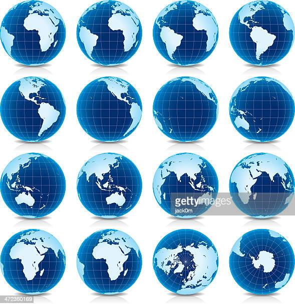spinning earth globe icon set, latitude zero view - spinning stock illustrations