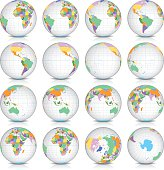 Spinning Earth Globe Icon Set, latitude zero view