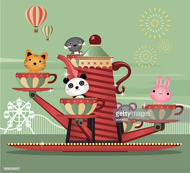 spinning tea cups - carnival ride stock illustrations, clip art, cartoons, & icons