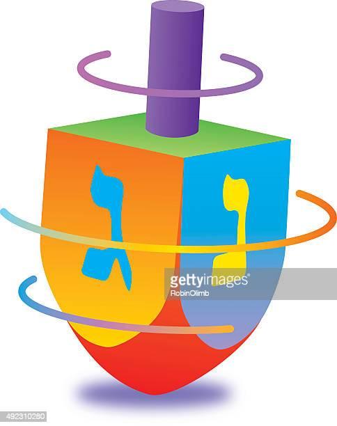 spinningdreidel - hanukkah stock illustrations, clip art, cartoons, & icons