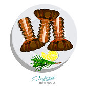 Spiny lobster with rosemary and lemon on the plate in cartoon style. Fresh spiny lobster. Seafood product design. Inhabitant wildlife of underwater world. Edible sea food. Vector illustration