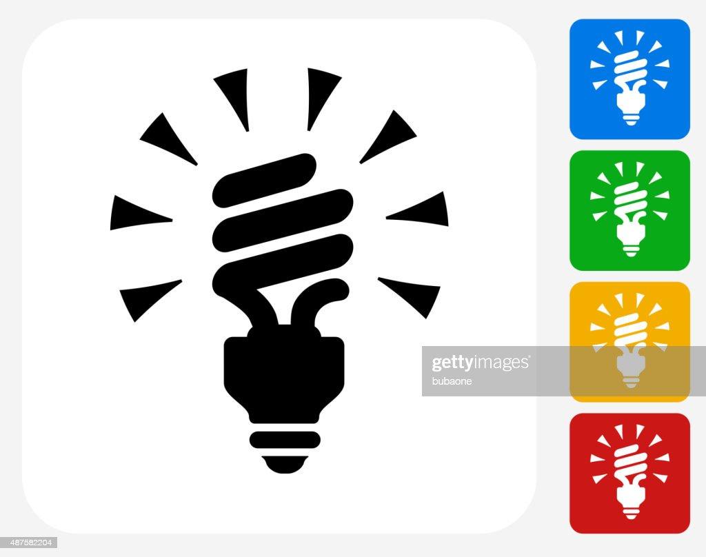 Spiral Energiesparende Glühbirne Symbol Flache Grafik Design ...