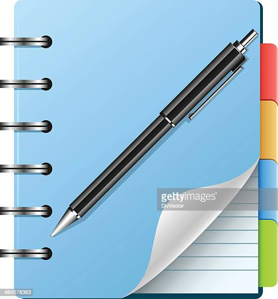 spiral notebook and pen - exercise book stock illustrations