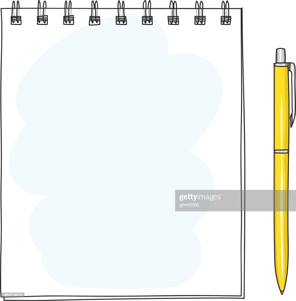 Spiral Notebook And Yellow Ballpoint Pen Hand Drawn Vector Art Diagram Illustration