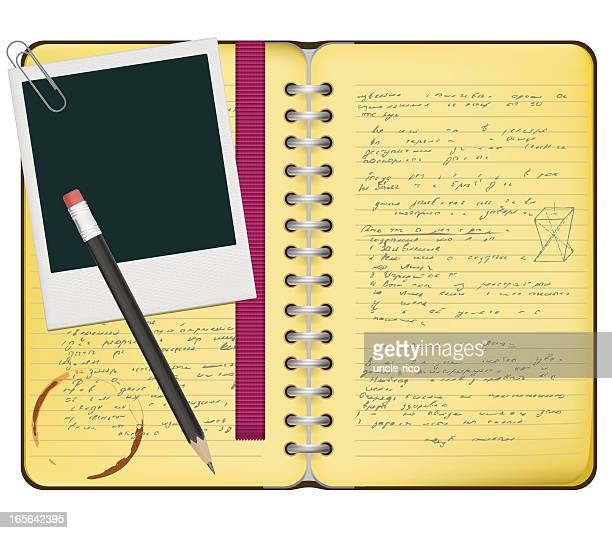 spiral notebook - diary stock illustrations