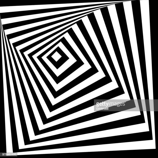 spiral pattern of growing squares. - optical illusion stock illustrations