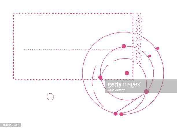 ilustraciones, imágenes clip art, dibujos animados e iconos de stock de sello de espiral - orbiting