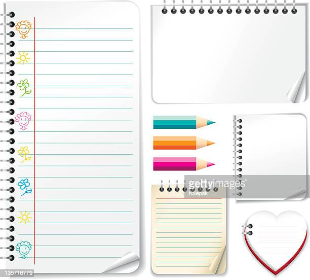 spiral white papers - lined paper stock illustrations