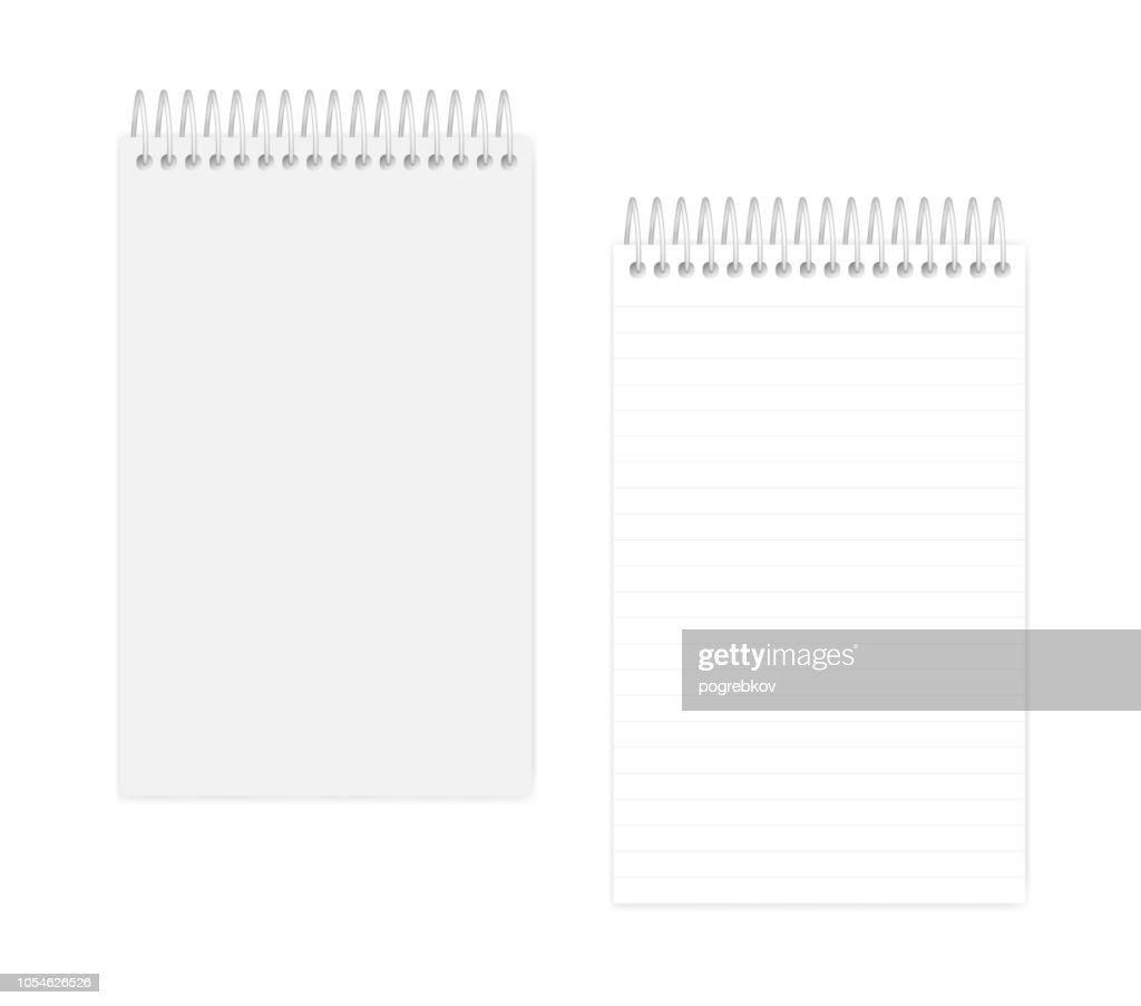 Spiral wire bound junior legal size lined notepad, realistic mockup