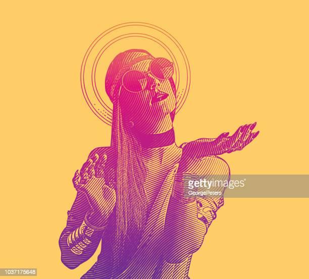 ilustraciones, imágenes clip art, dibujos animados e iconos de stock de joven espiritual boho - cultura juvenil