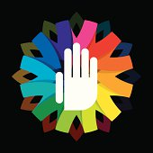 spiritual hand on colorful background