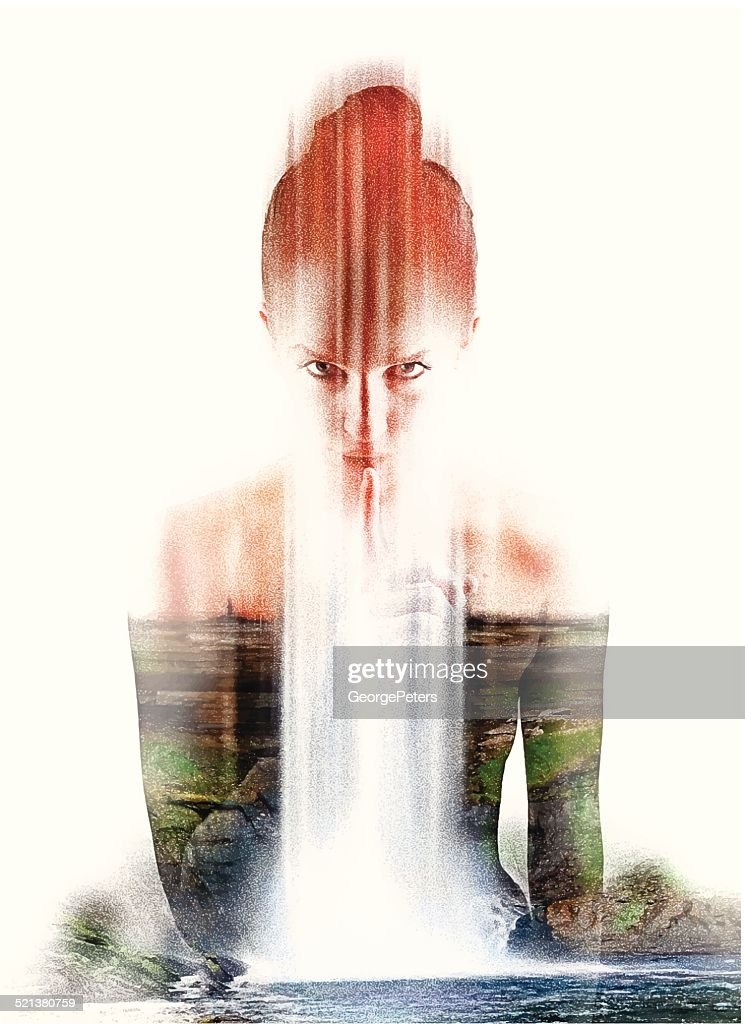 Spiritual Nature Woman Shushing : stock illustration