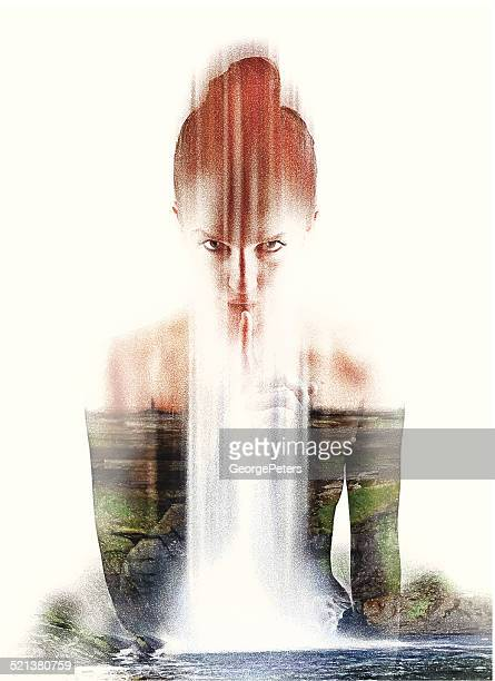 spiritual nature woman shushing - goddess stock illustrations, clip art, cartoons, & icons